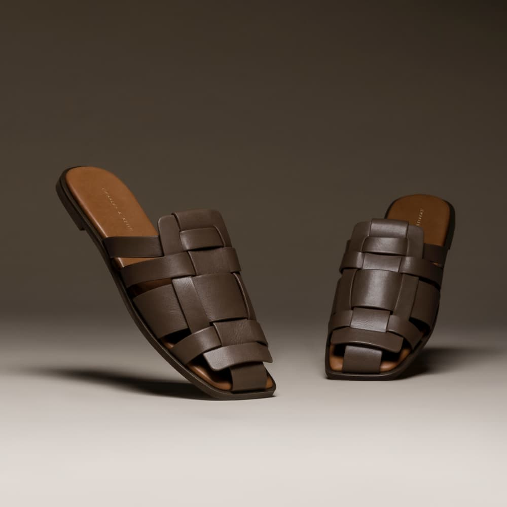 Women's woven flat mules in dark brown - CHARLES & KEITH