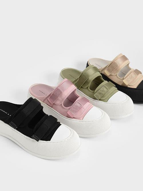 Canvas Velcro Sneaker Mules, Beige, Pink, Green, Black