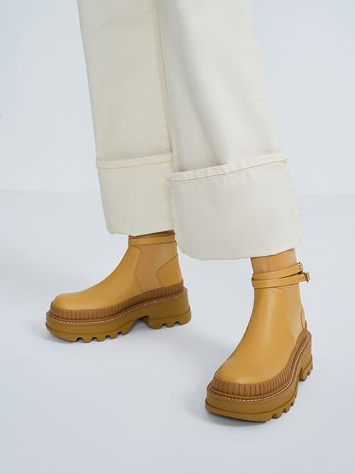 Slip-On Platform Ankle Boots, Mustard