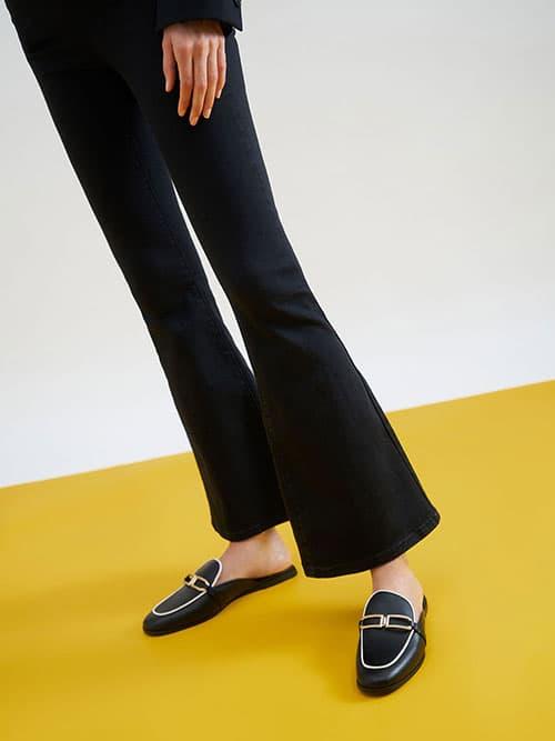 金屬釦穆勒鞋,黑色
