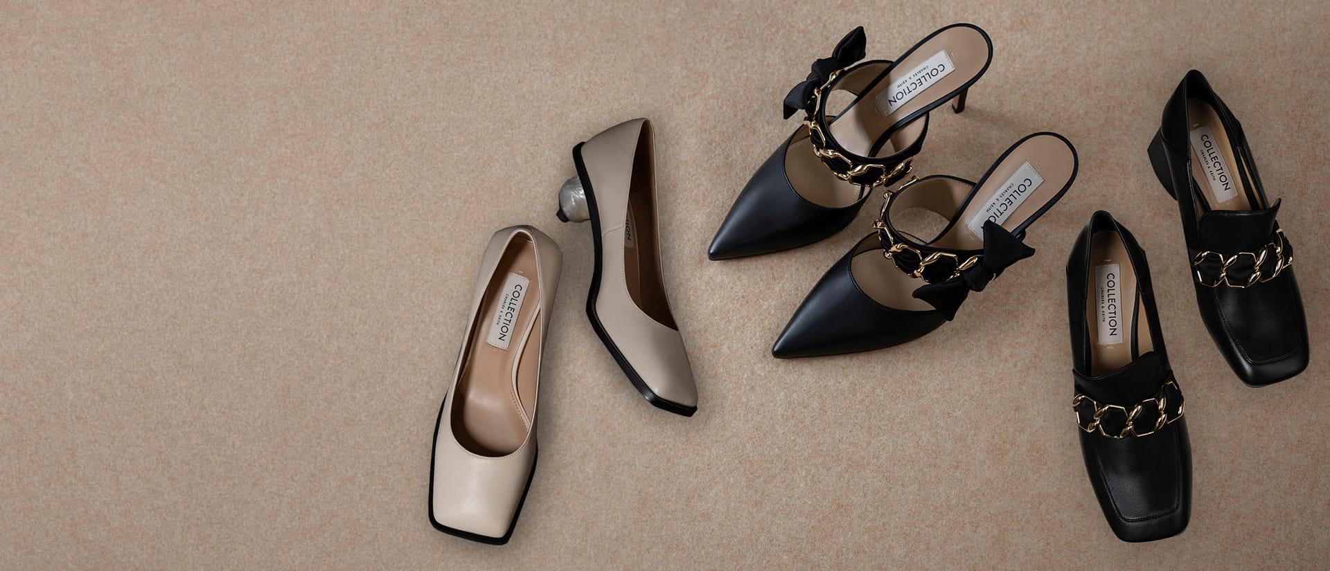 Women's sculptural heel pumps (kid leather) in beige - CHARLES & KEITH