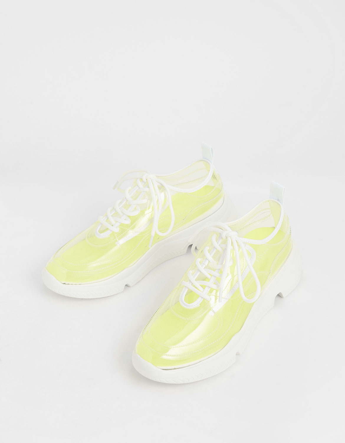Women's clear chunky sneakers in white