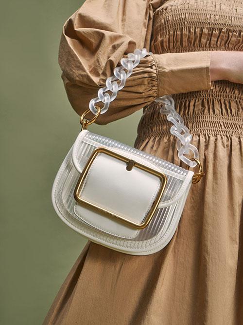Acrylic Chain Handle Crossbody Bag, White
