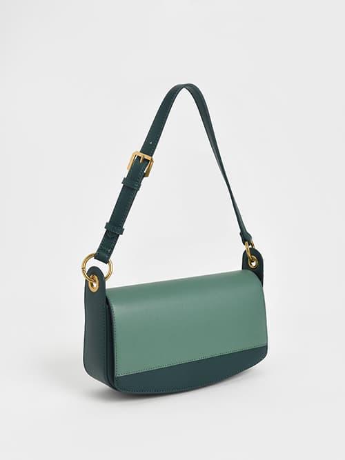 Coiled Top Handle Shoulder Bag, Green
