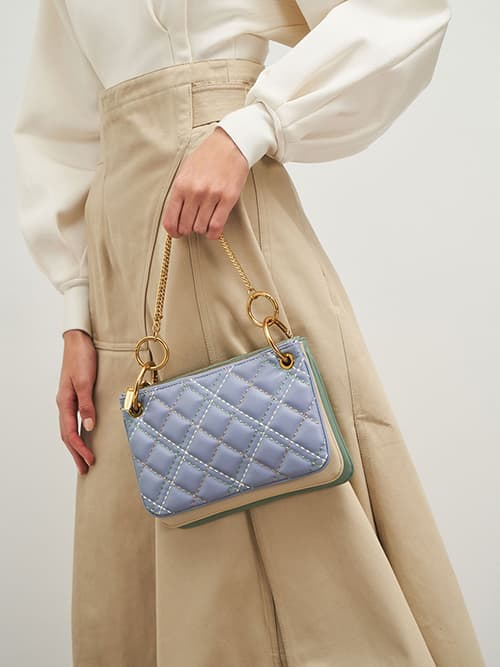 Quilted Metallic Handle Crossbody Bag, Light Blue