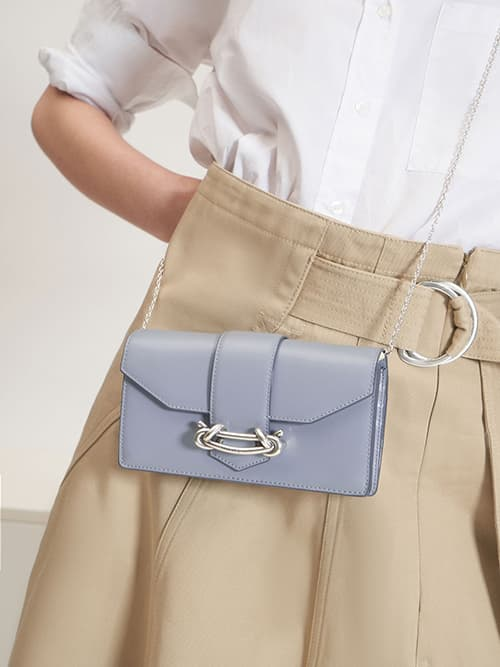Metallic Buckle Mini Long Wallet, Light Blue