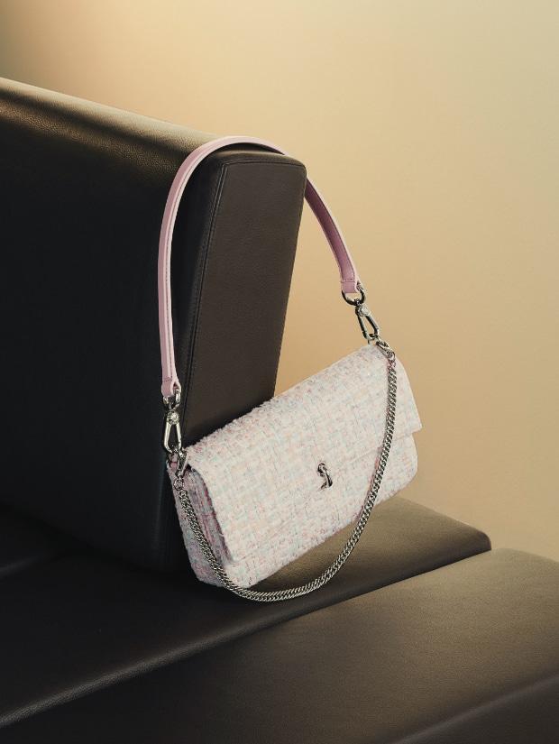 Women's gift set: tweed shoulder bag & cardholder in pink - CHARLES & KEITH