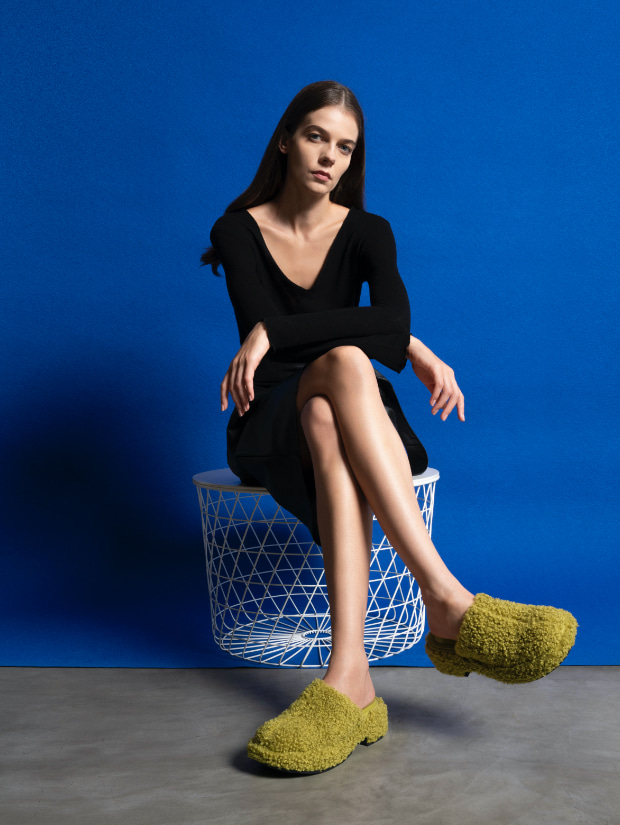 Women's furry platform clogs in green and platform clogs in black - CHARLES & KEITH