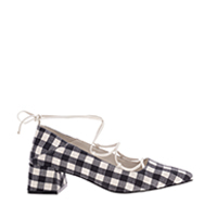 WOVEN GINGHAM ANKLE TIE PUMPS