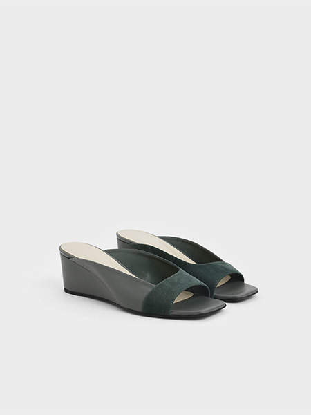 Asymmetrical Open Toe Wedges