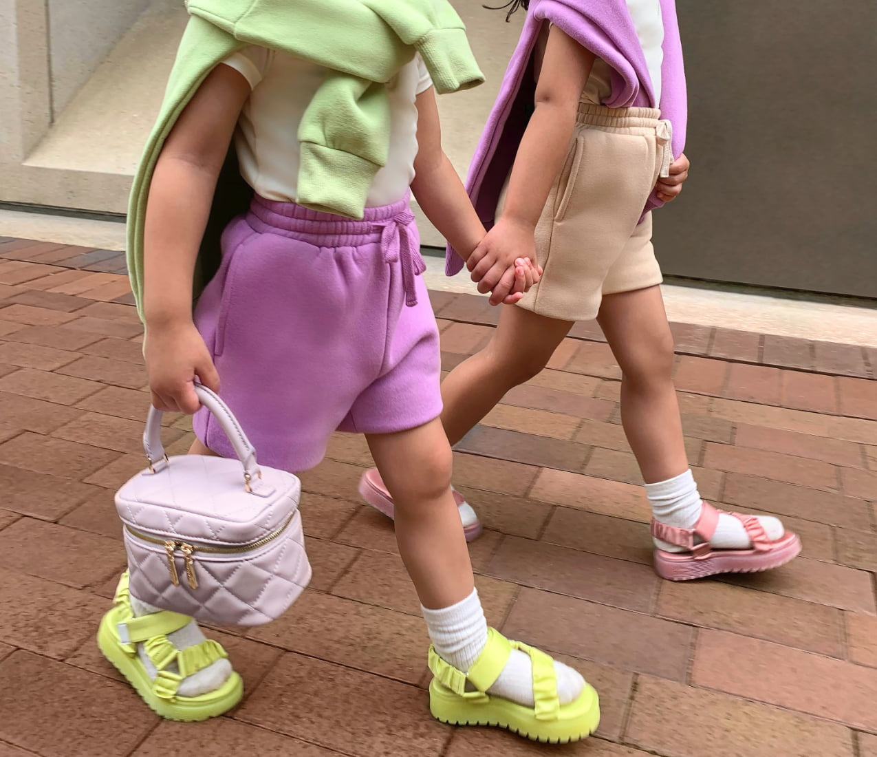 Girls' fabric ruched sports sandals and two-way zip quilted bag, as seen on Mia and Tatiana (@miaxtati) - CHARLES & KEITH