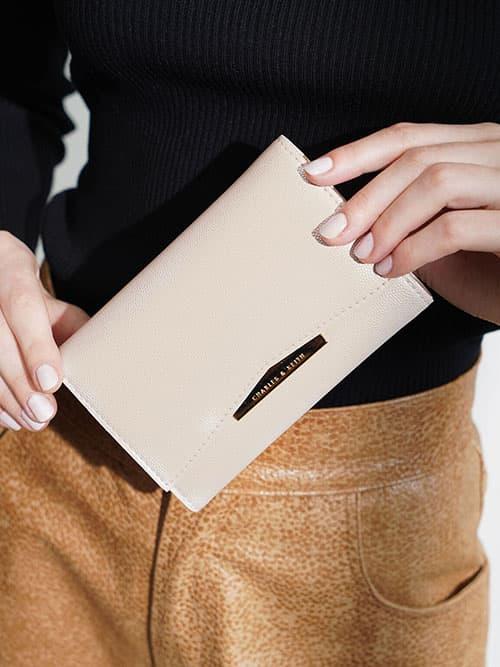 Metallic Accent Mini Short Wallet, Pearl