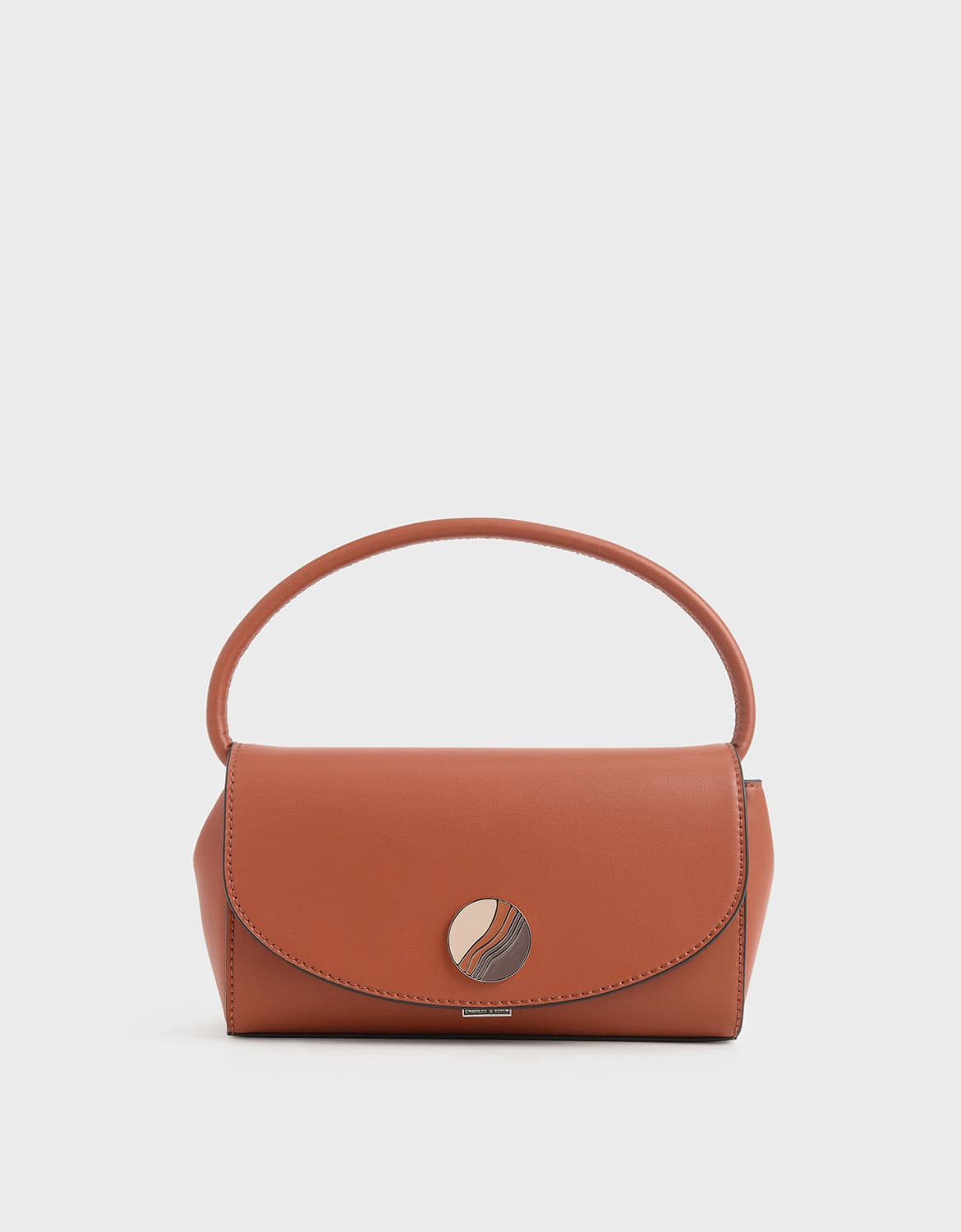 chunky chain handle mini shoulder bag in brick – CHARLES & KEITH