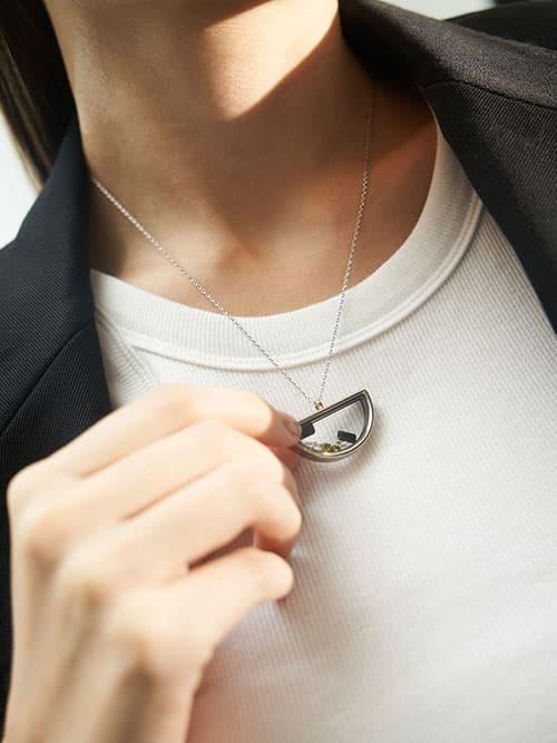 Semi-Circle Floating Locket Necklace