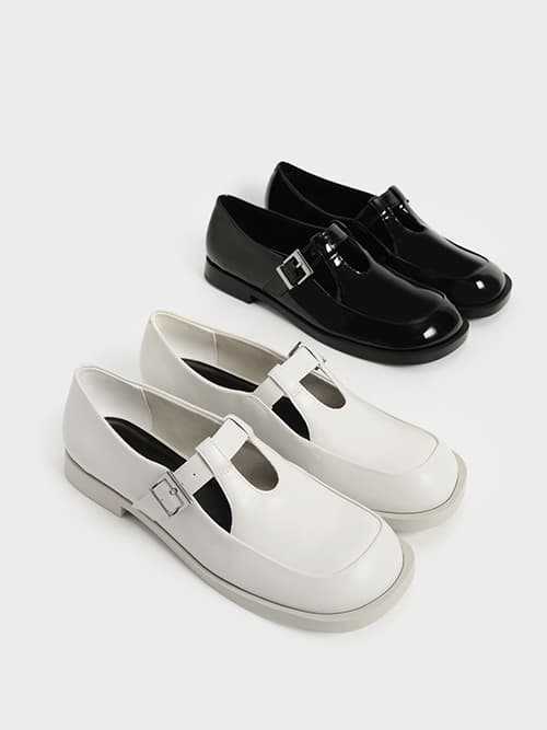 Patent Mary Jane Buckle Loafers, Black, Chalk