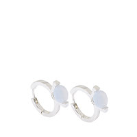 CHALCEDONY STONE HUGGIE HOOP EARRINGS
