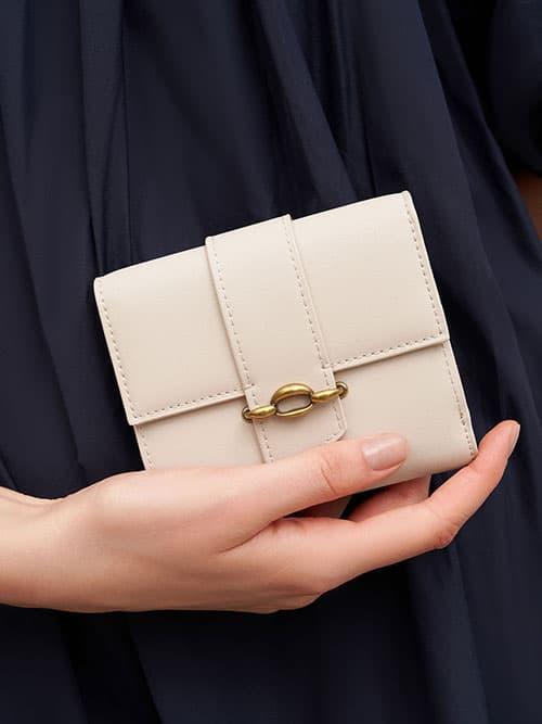 Belt Buckle Strap Short Wallet, Ivory