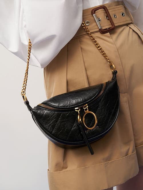 Wrinkled-Effect Half-Moon Crossbody Bag, Black