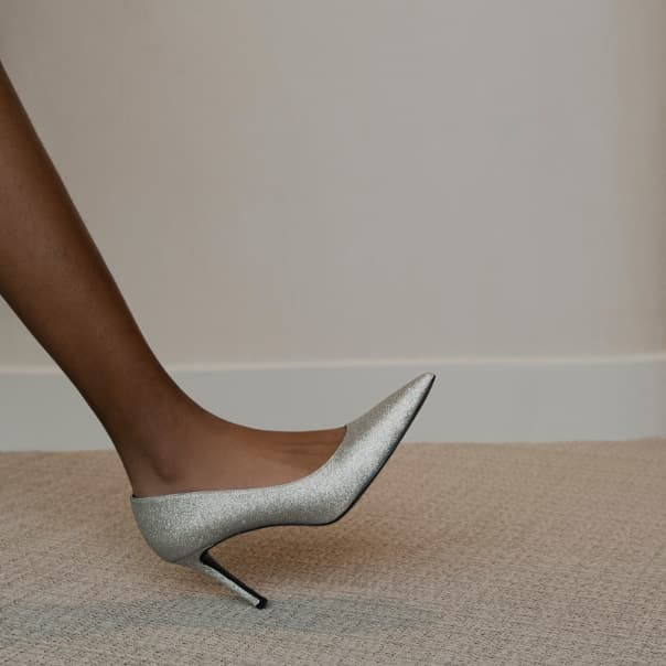 Women's glitter pointed toe pumps (side view) - CHARLES & KEITH