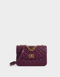 QUILTED TURN-LOCK CLUTCH