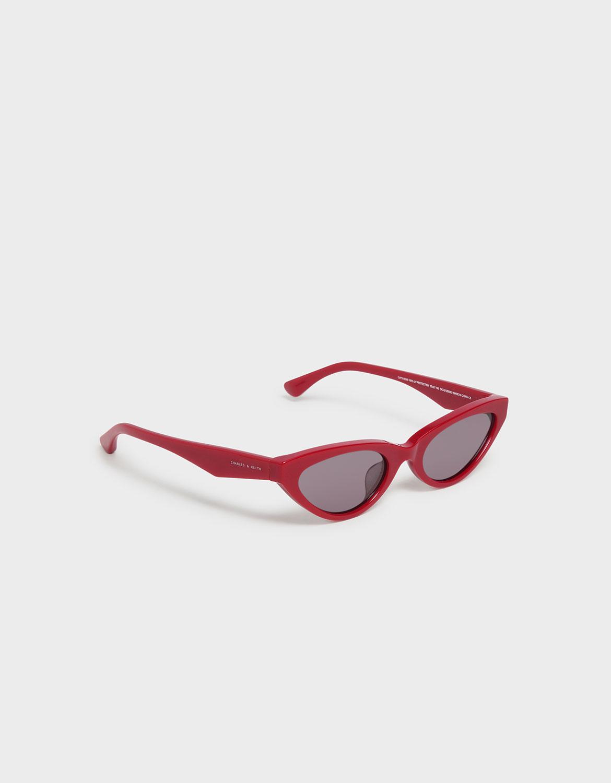 紅色橢圓框墨鏡 - CHARLES & KEITH