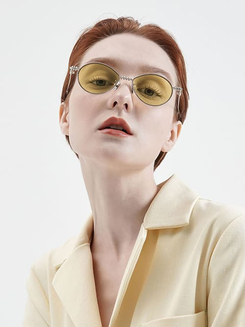 Twine Detail Oval Sunglasses, Yellow