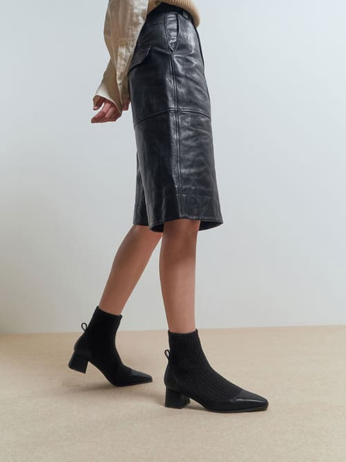 Knit Ankle Sock Boots, Black