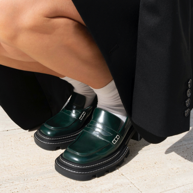 Women's Perline chunky loafers in black, as seen on Sophia Ippoliti (side view) - CHARLES & KEITH