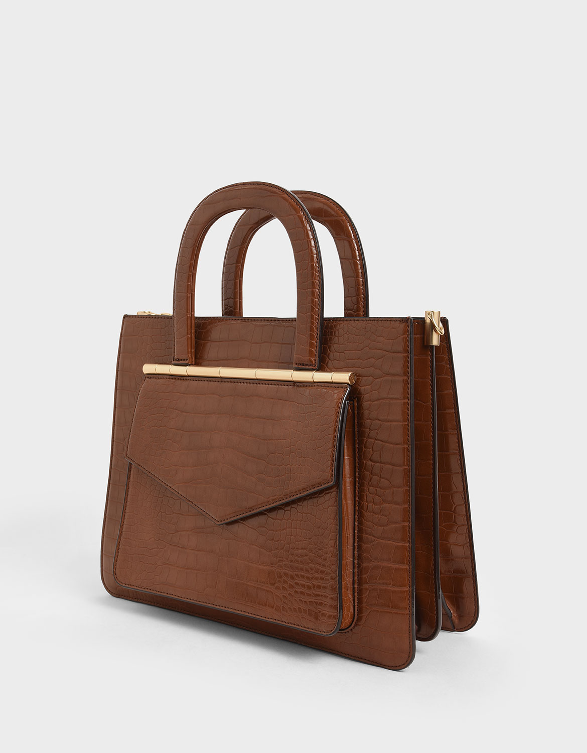 Women's dark brown croc-effect structured tote bag – CHARLES & KEITH