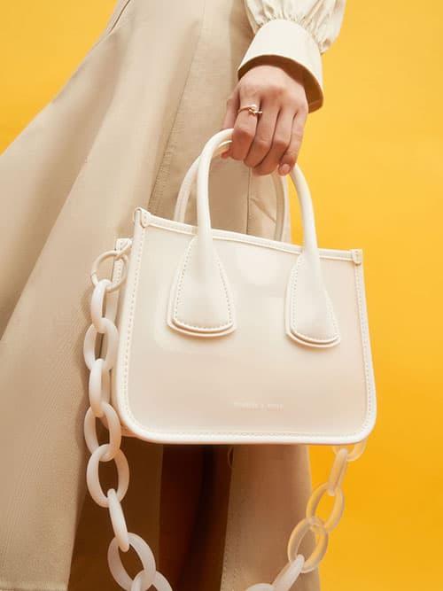 果凍拼接手提包