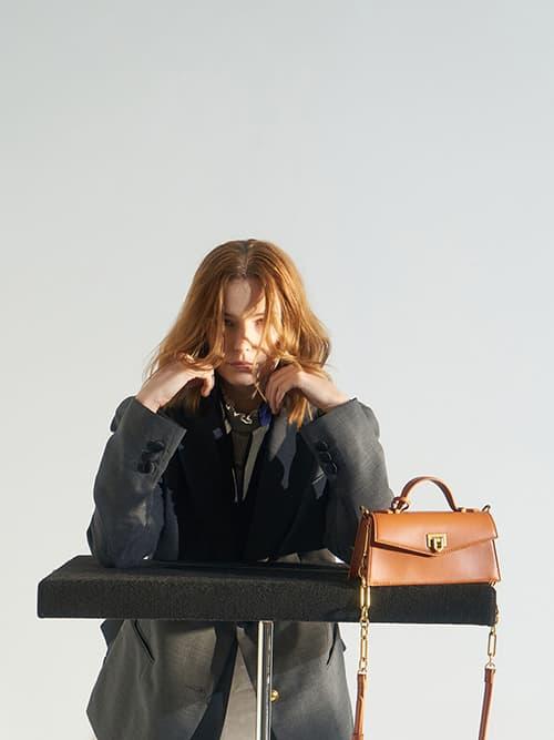 Trapeze Top Handle Bag, Cognac