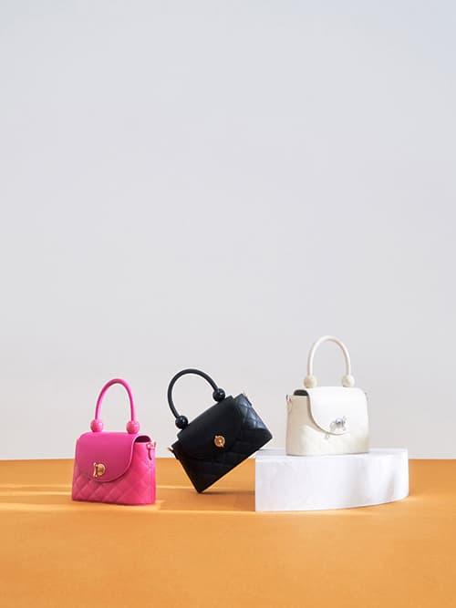Top Handle Circle Bag, Cream