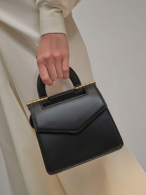 Top Handle Envelope Bag, Black