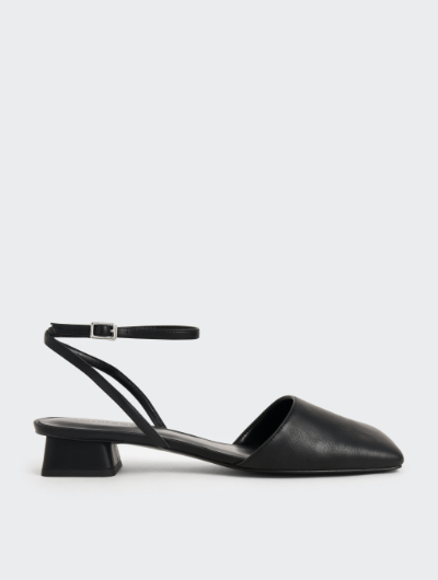 SQUARE TOE ANKLE STRAP PUMPS