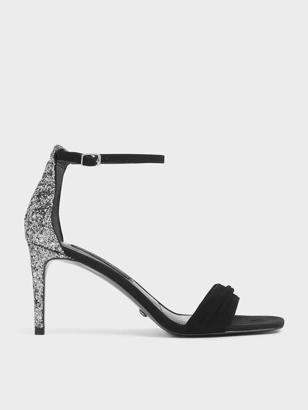 Glitter Stiletto Heel Sandals (Kid Suede)