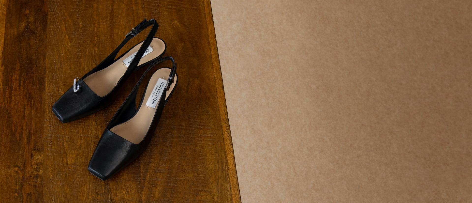 Women's gem-embellished leather slingback pumps in black - CHARLES & KEITH