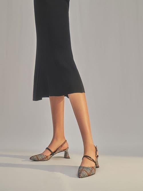 瑪莉珍尖頭跟鞋,灰色