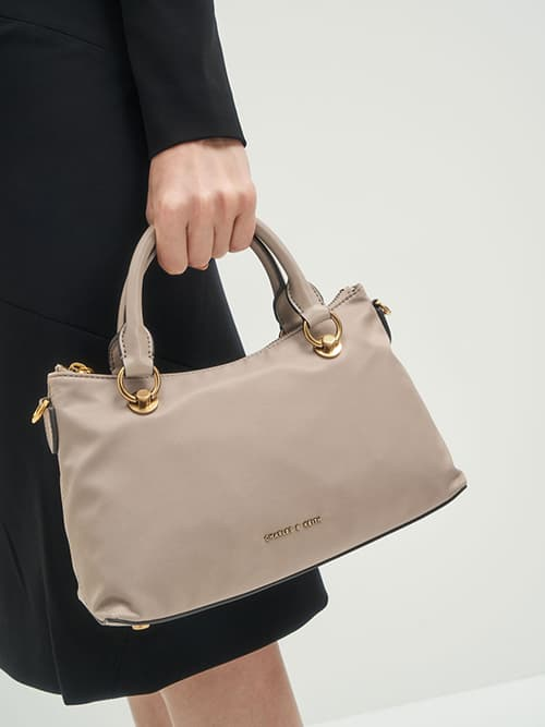 Double Handle Shoulder Bag, Sand