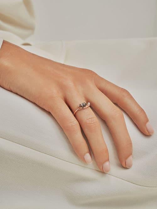 Swarovski® Crystal Geometric Ring, Rose Gold
