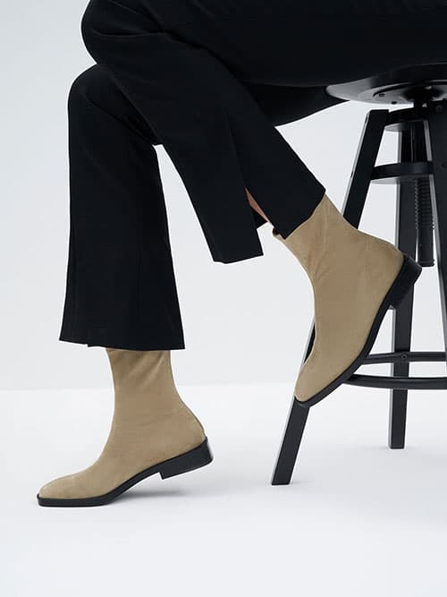 Textured Square Toe Zip-Up Ankle Boots,Taupe