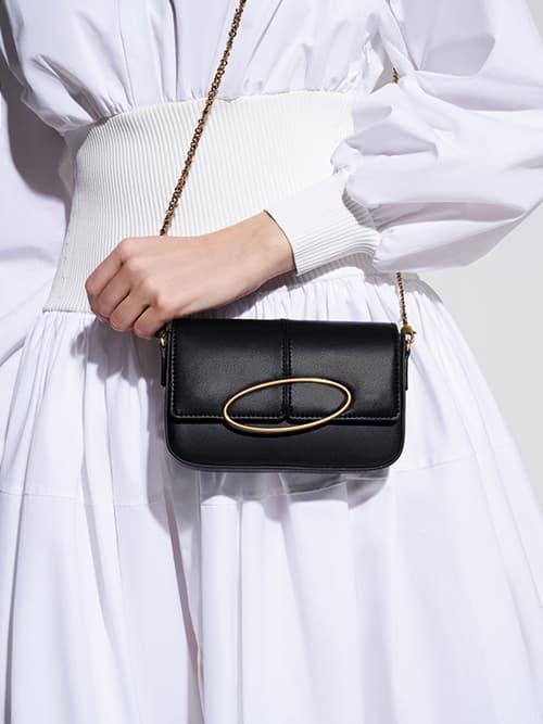 Metallic Ring Shoulder Bag, Black