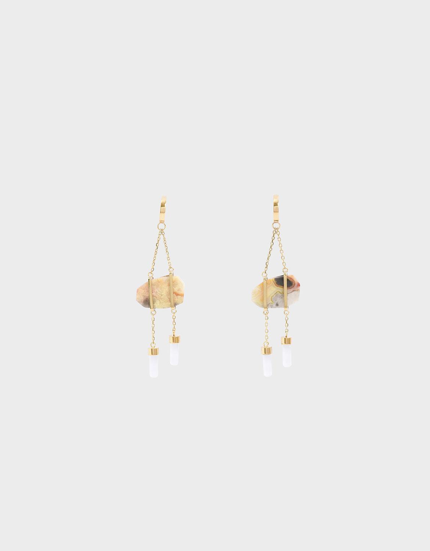Women's gold Crazy Agate stone earrings