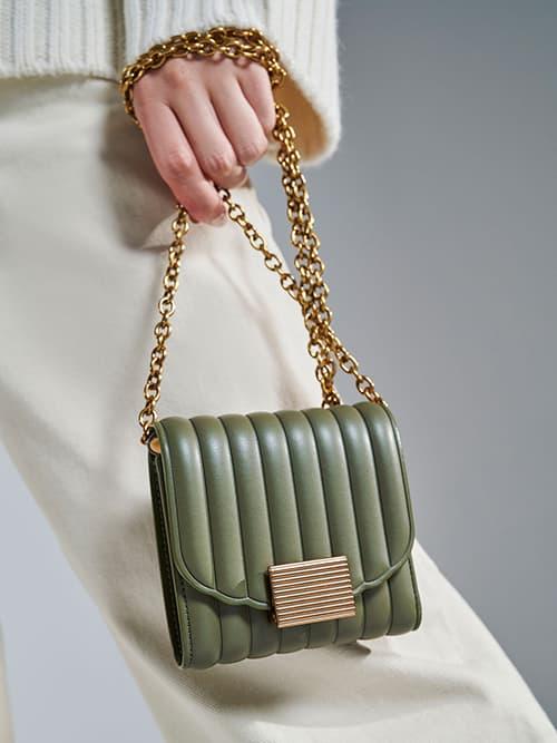 Panelled Short Wallet, Olive