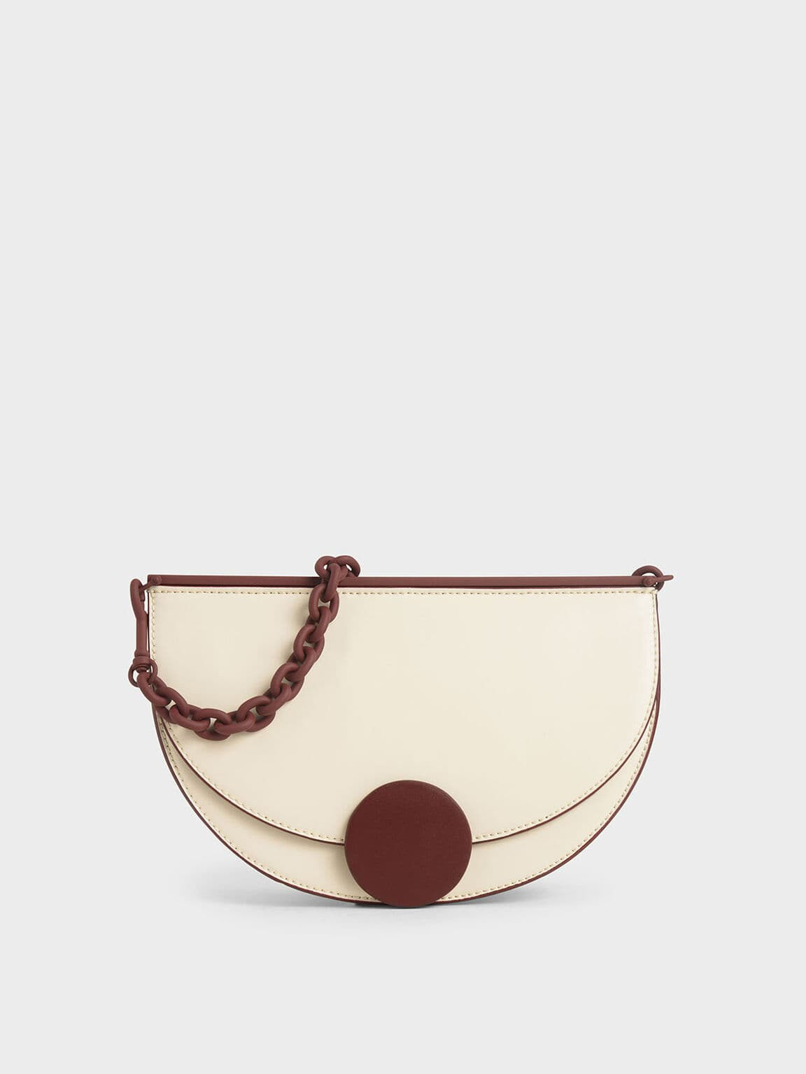 Two-Tone Half Moon Clutch