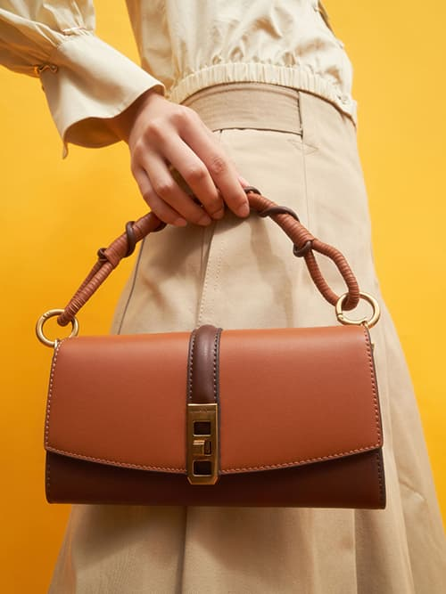 Coiled Top Handle Wallet, Cognac