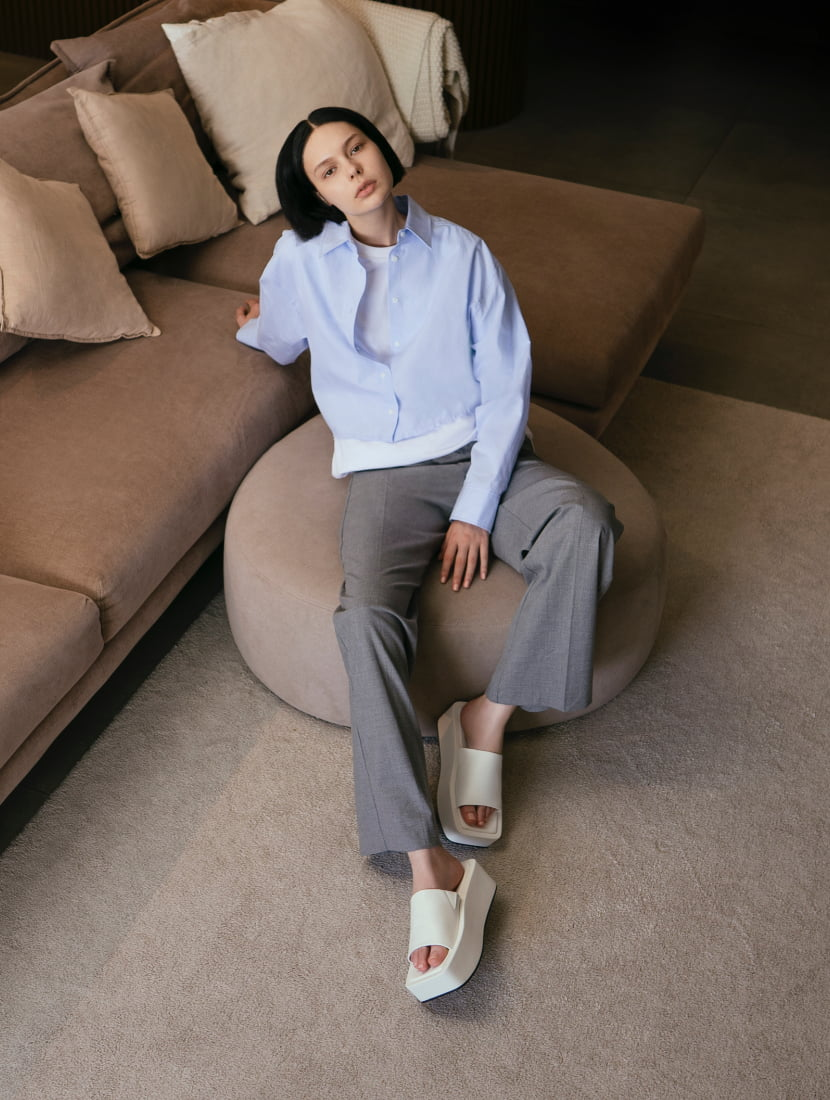 Women's square toe flatforms in white - CHARLES & KEITH