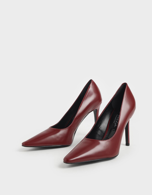 紅色真皮經典高跟鞋 – CHARLES & KEITH