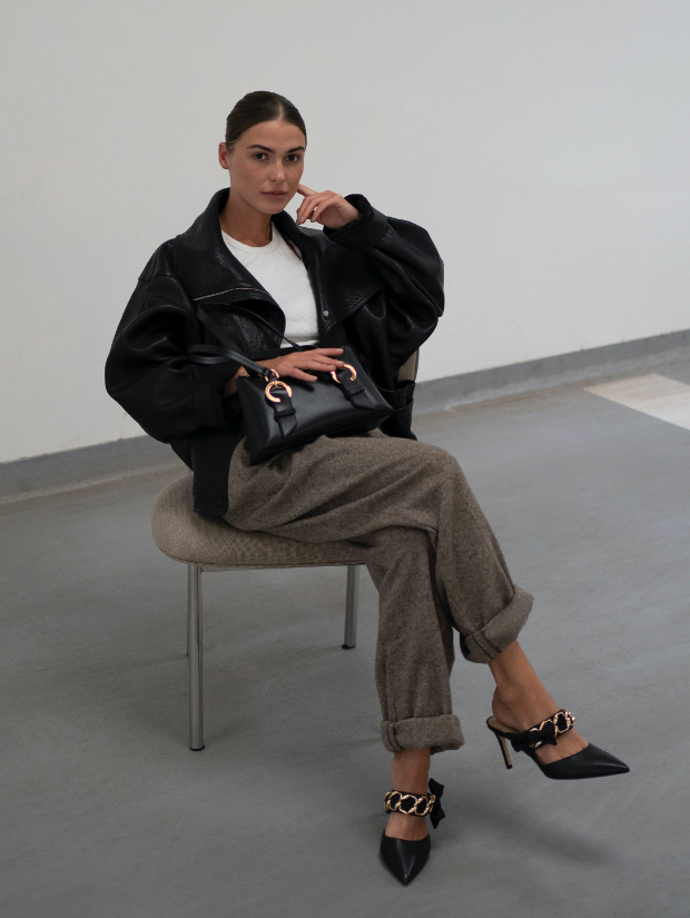 Women's satin bow leather mules and ring buckle leather shoulder bag, as seen on Sophia Roe - CHARLES & KEITH