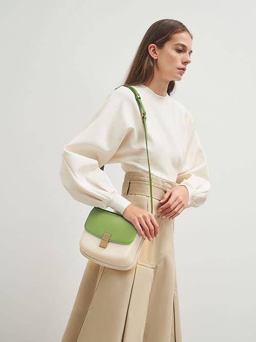 Metallic Push-Lock Shoulder Bag, Green