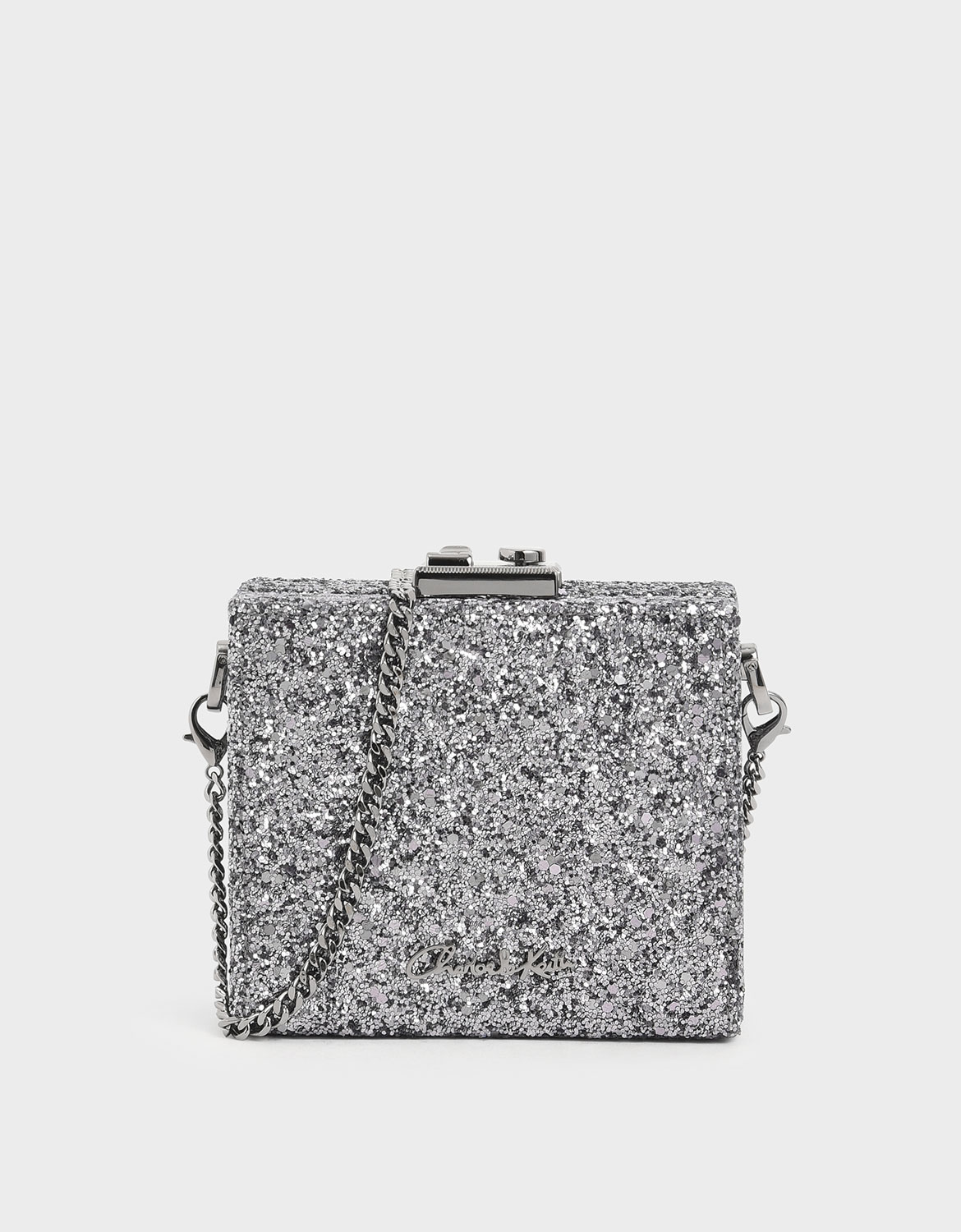 Women's pewter glitter square clutch